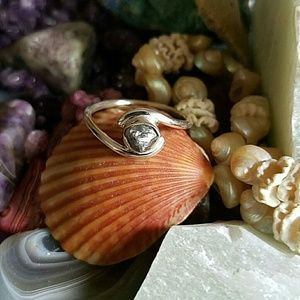 Natural Rough Real Diamond Ring Sterling Silver